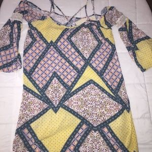 xhiliration boho cold shoulder dress size xl
